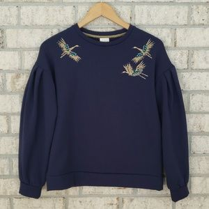 A New Day Poof Sleeve Embroidered Bird Sweatshirt